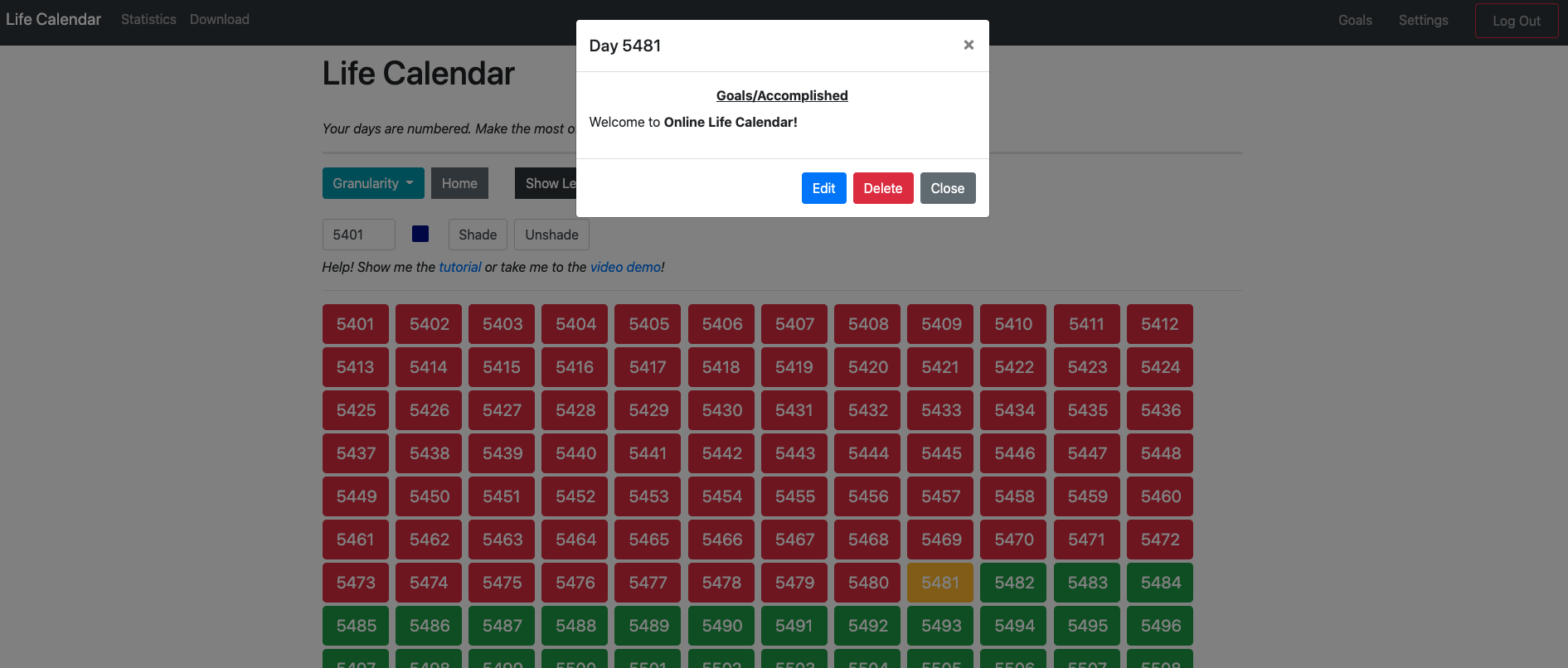 homepage screenshot of Online Life Calendar